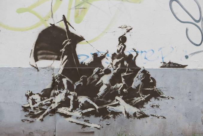 "We're not all in the same boat,"" 2015; Banksy"