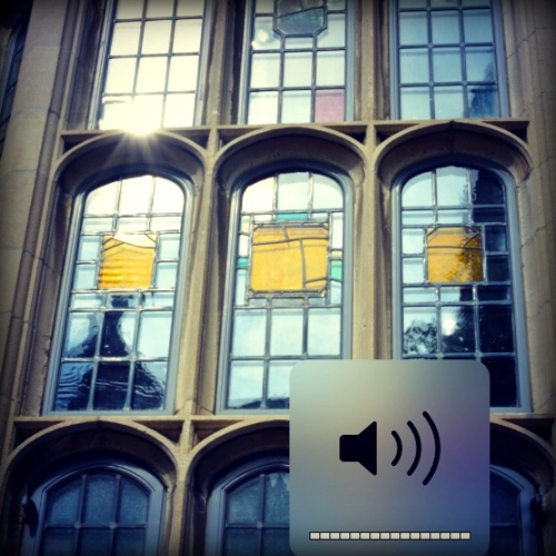 Yellow glass replaced stained glass windows at Yale's Calhoun College, now renamed Grace Murry Hopper College. Photograph by Amanda Mei, Yale Daily News