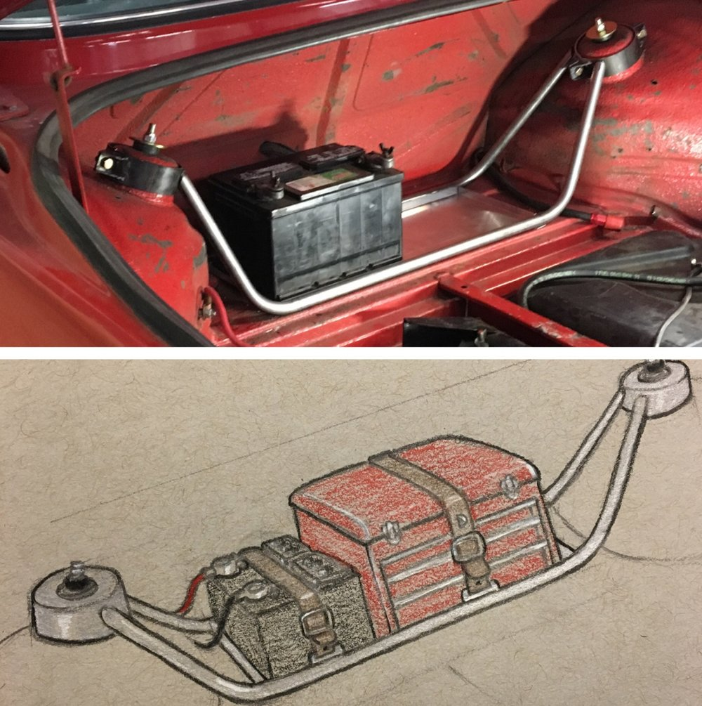 initial rough sketch next to prototype/mock-up of trunk  battery/tool rack for BMW 2002 -