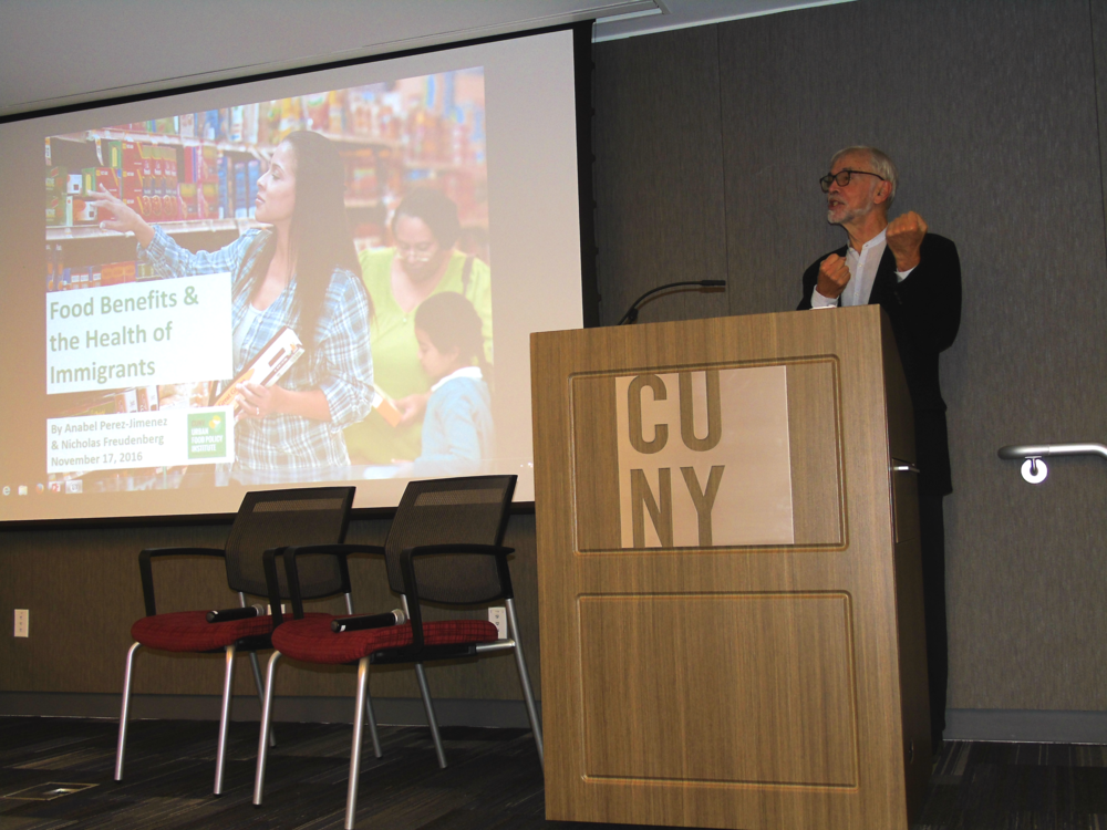 CUNY Urban Food Policy Institute Director Nicholas Freudenberg sets the tone and provides context for discussion.