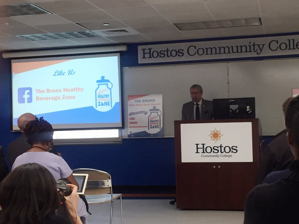 Hostos Community College President David Gómez expresses his support for the Healthy Beverage Zone Campaign. With the installation of a new water refill station, the college was able to save 11,000 bottles from landfill.
