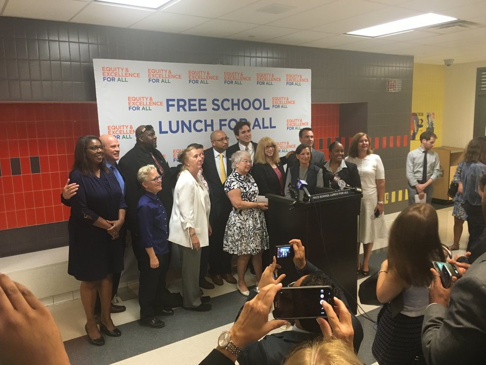 On September 6 New York City School Chancellor Fariña announced at a press conference at PS51 that lunch at New York City public schools will be available free of charge to all 1.1 million students beginning this school year.