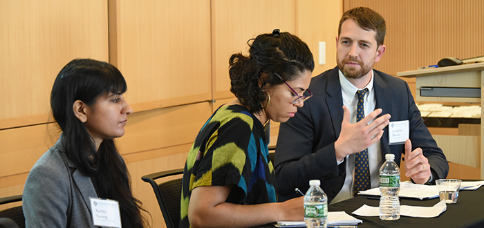Panelists Surbhi Sarang, Natalie Bump Vena, and Jonathan Brown at the 2017 Cooper-Walsh Colloqiuium. Courtesy Fordham Law School.
