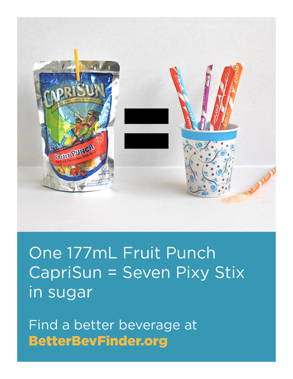 Image from Howard County Unsweetened depicting how CapriSun is liquid candy.