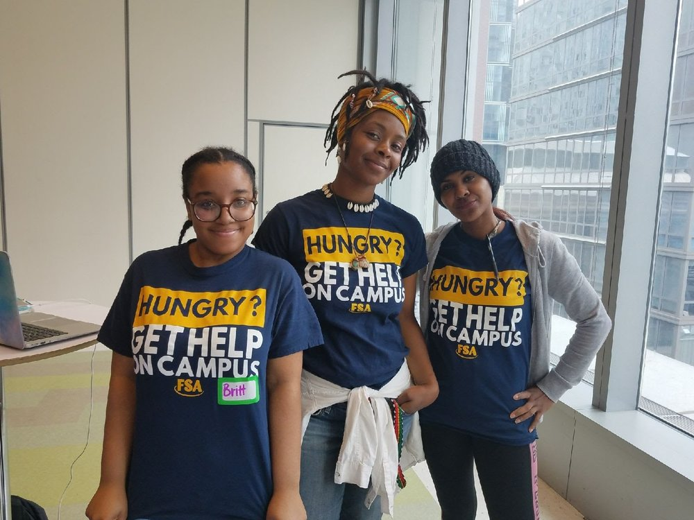 (left to right) Brittany Applewhite, Laura Blackwood, and Marleny Pimentel were among the John Jay students presenting at the Food Justice Expo