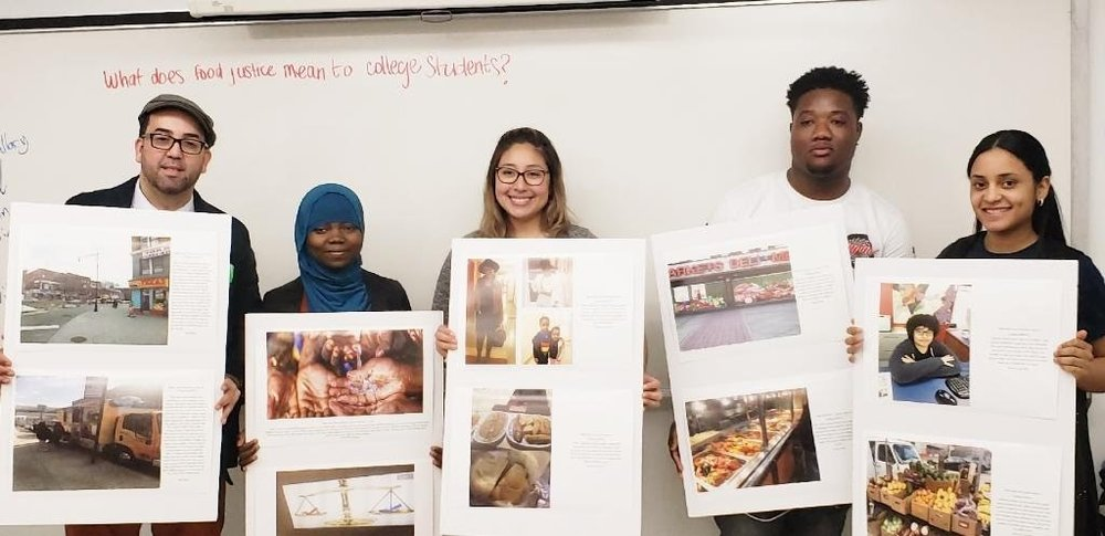 Figure       SEQ Figure \* ARABIC    8      . (left to right) Student Advocates Joel Rivera, Namizata Kamagate, Lazare Dada, and Arlenny Cruz, accompanied by CUNY Urban Food Policy Institute Project Coordinator Kathleen Delgado (center).