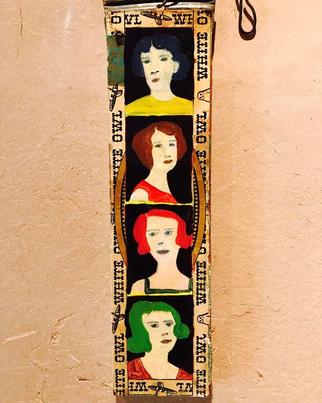 Folk ladies on adobe wall#primitiveart#americana#folkart#Taos#adobe#newmexico