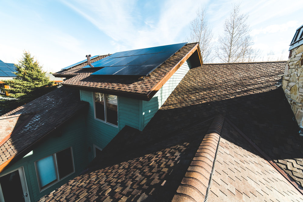Roof and Solar Panel on Park City Home installed by On Top Roofing & On Top Solar and Electric