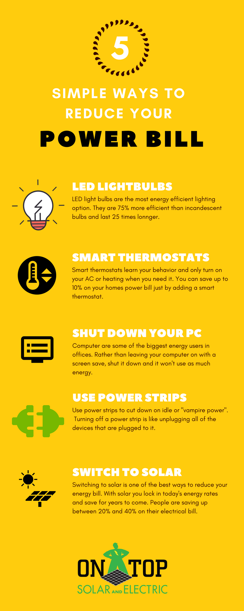 5 simple ways to reduce your power bill infographic park city 39 s top rated solar installer. Black Bedroom Furniture Sets. Home Design Ideas