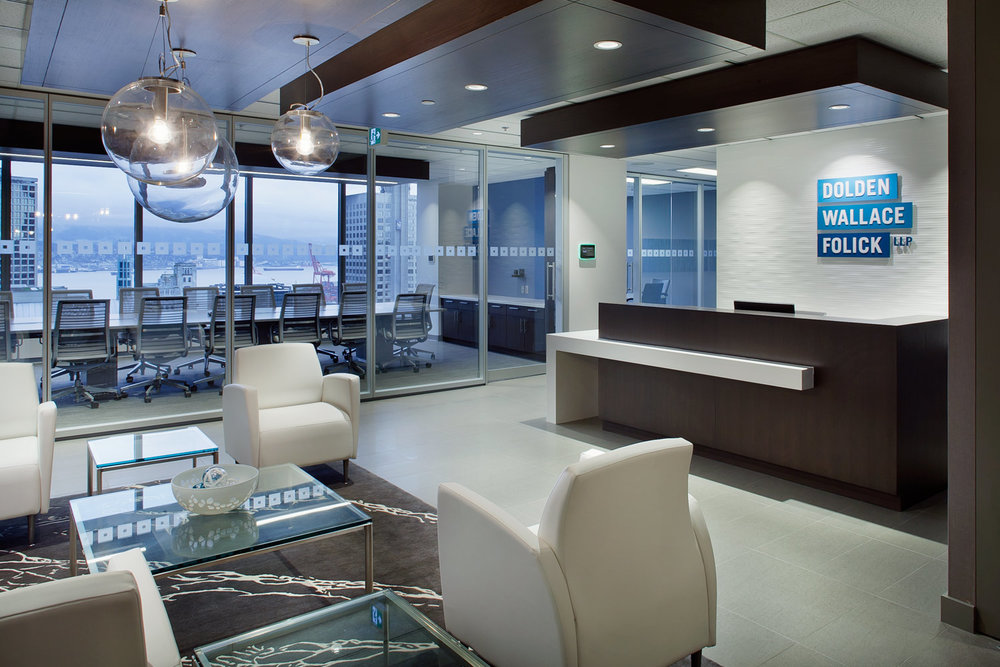 Dolden Wallace Folick LLP    Size:  13,500 Sq. Ft.  Completed:  2016  Services Rendered:  Interior Design, Construction Management, Project Management, Furniture Procurement