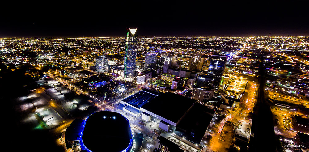 Panorama I stitched in Photoshop of Oklahoma City Downtown using noise removal tools in Post