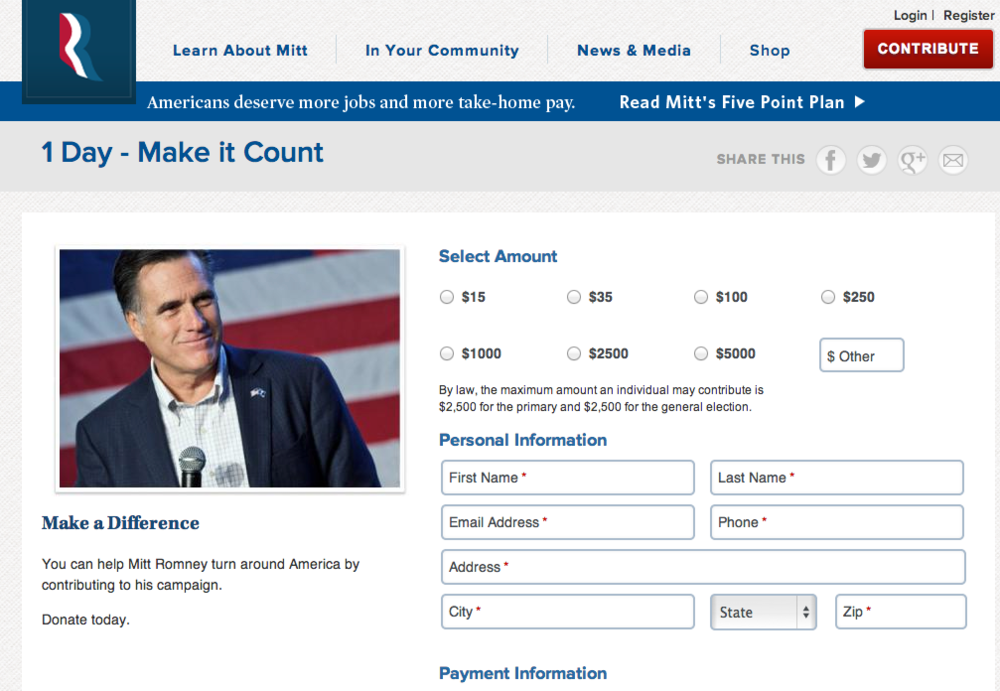 Donate today - Mitt Romney