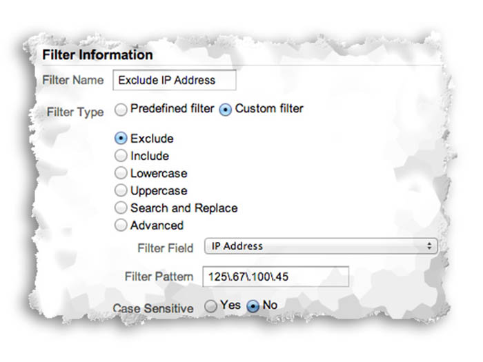 Filters in Google Analytics such as Exclude IP Address