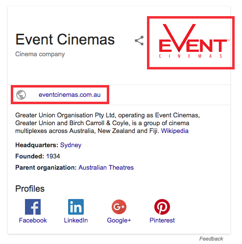 Event cinemas google search screen shot