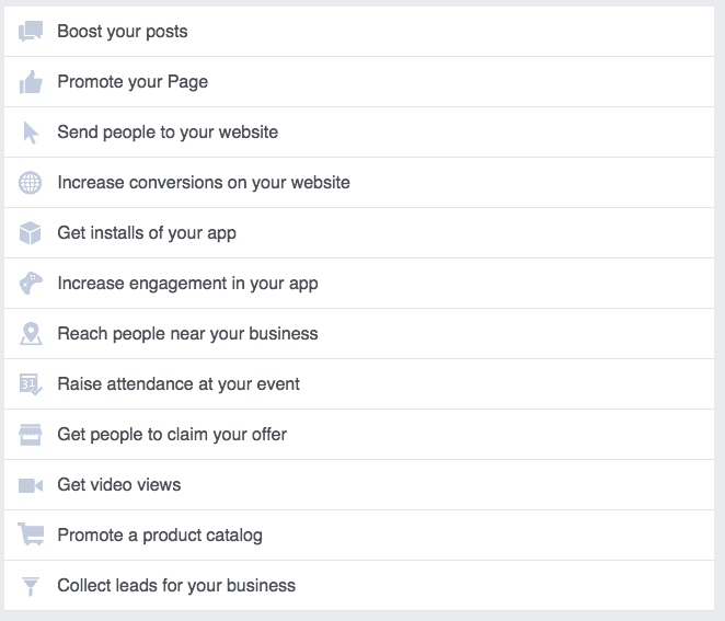 Facebook objectives list