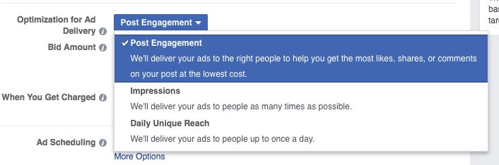 Facebook optimise for post engagement