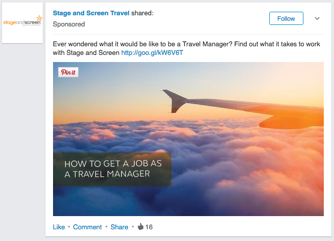 LinkedIn sponsored content with an image and a link