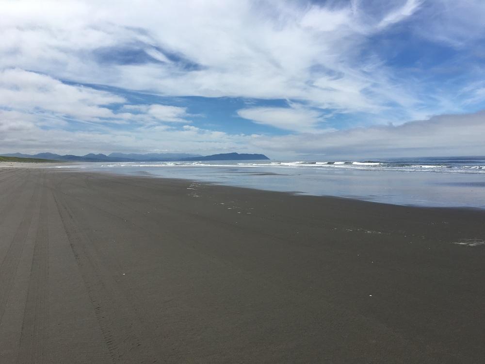 Beach walking.