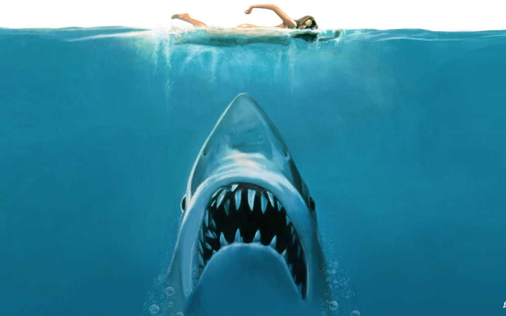 DESCRIPTION: A giant great white shark arrives on the shores of a New England beach resort and wreaks havoc with bloody attacks on swimmers, until a local sheriff teams up with a marine biologist and an old seafarer to hunt the monster down. I'm already shocked that you are reading this because that means you haven't seen it yet... WHY? You should watch this with as much sticky icky as possible because it will take the intensity from a 6 to a solid 11.
