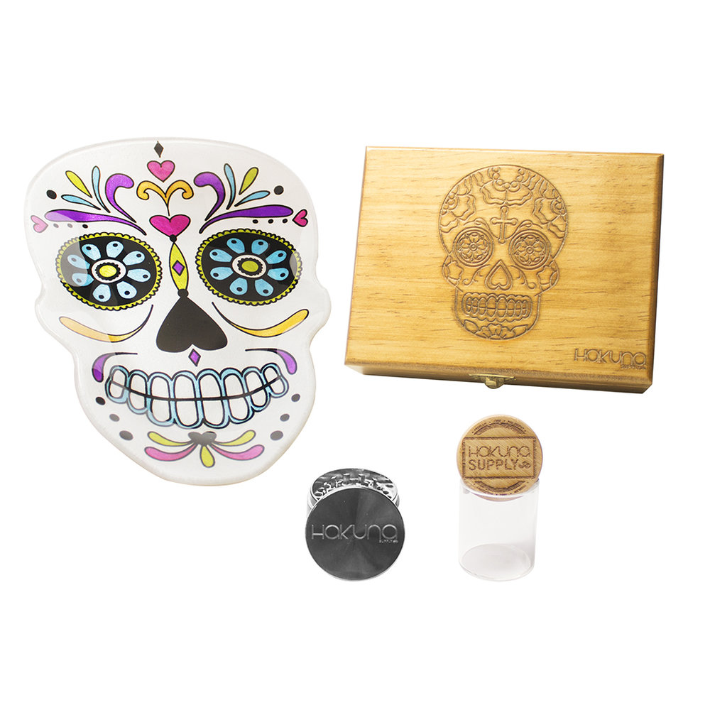 Welcome to Hakuna's Halloween Contests! - Halloween is one of our favorite holidays so we are going to be running 1 contest a week that will include a limited edition dia de muertos rolling tray, Hakuna 4 pc. Grinder, Hakuna Bamboo Jar, and either our Calaca Book or Sugar Skull Stash Box! How to win:-Follow us on Instagram, Facebook, and Twitter-Make a Halloween/cannabis related post and tag @hakunasupply-Use #HakunaHalloween