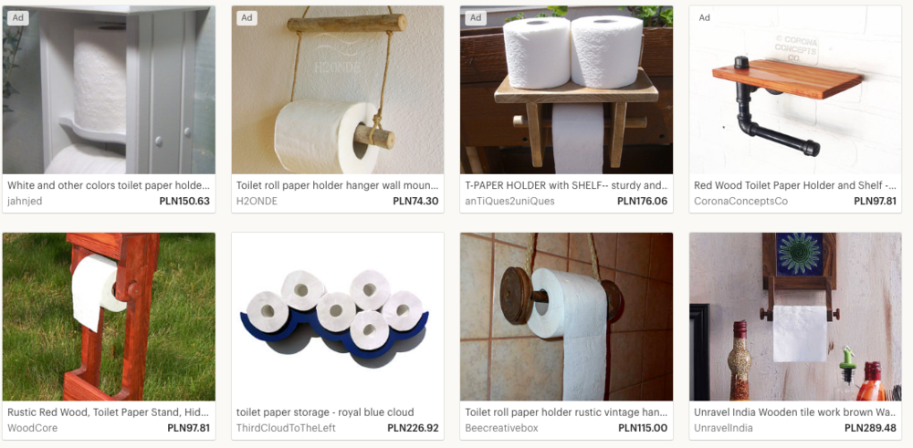 Think you're too niche? The  wooden toilet roll holder  niche is super competitive on Etsy.