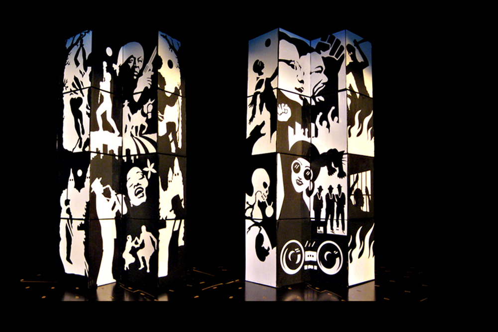 Movable Theater Set Design  by Thomas Wong  For Ihe Sisyphus Syndrome, Play by Amiri Baraka,  Cardboard, Duct Tape and Vinyl