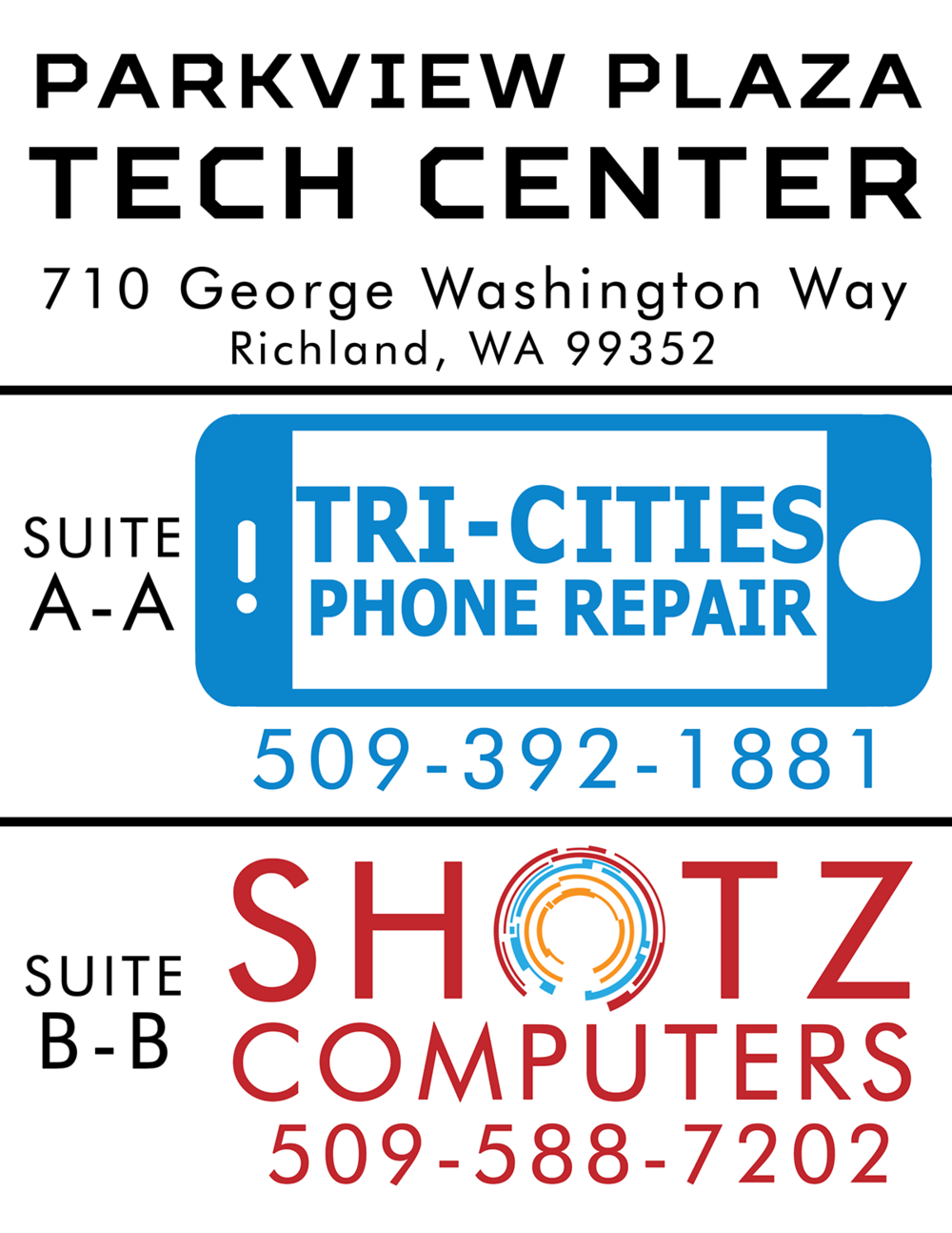 TC Phone Repair, Shotz Computers Poster