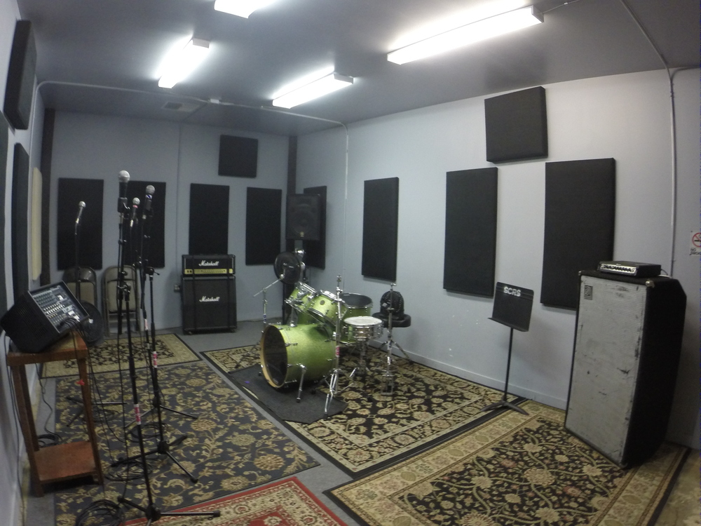 STUDIO .1 - Size - 23' x 13' $20 hr. Includes full backline (drum rig - 6 piece, bass rig, guitar rig, PA system and mics).