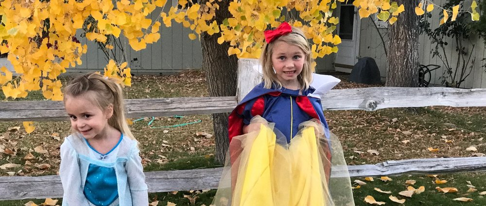 """The only photo I managed to snag before the dresses were covered in frosting and nacho cheese. Emma's smile suggests confusion but that was her """"Princess Snow White"""" smile. Janey was Elsa...again. I don't think Frozen is leaving our house anytime soon but I am so ready to let it go."""