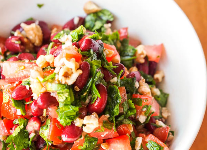 Tomato, Kidney Bean and Parsley Salad with Walnuts via Avocado Pesto.