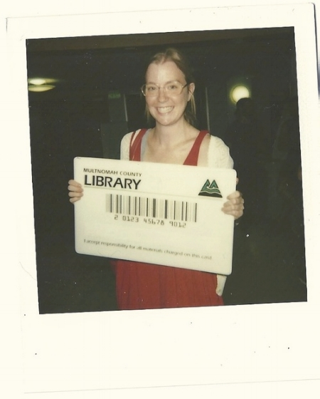 As you can see I was extremely happy to be asked to pose with a giant library card at the Portland Zine Symposium.