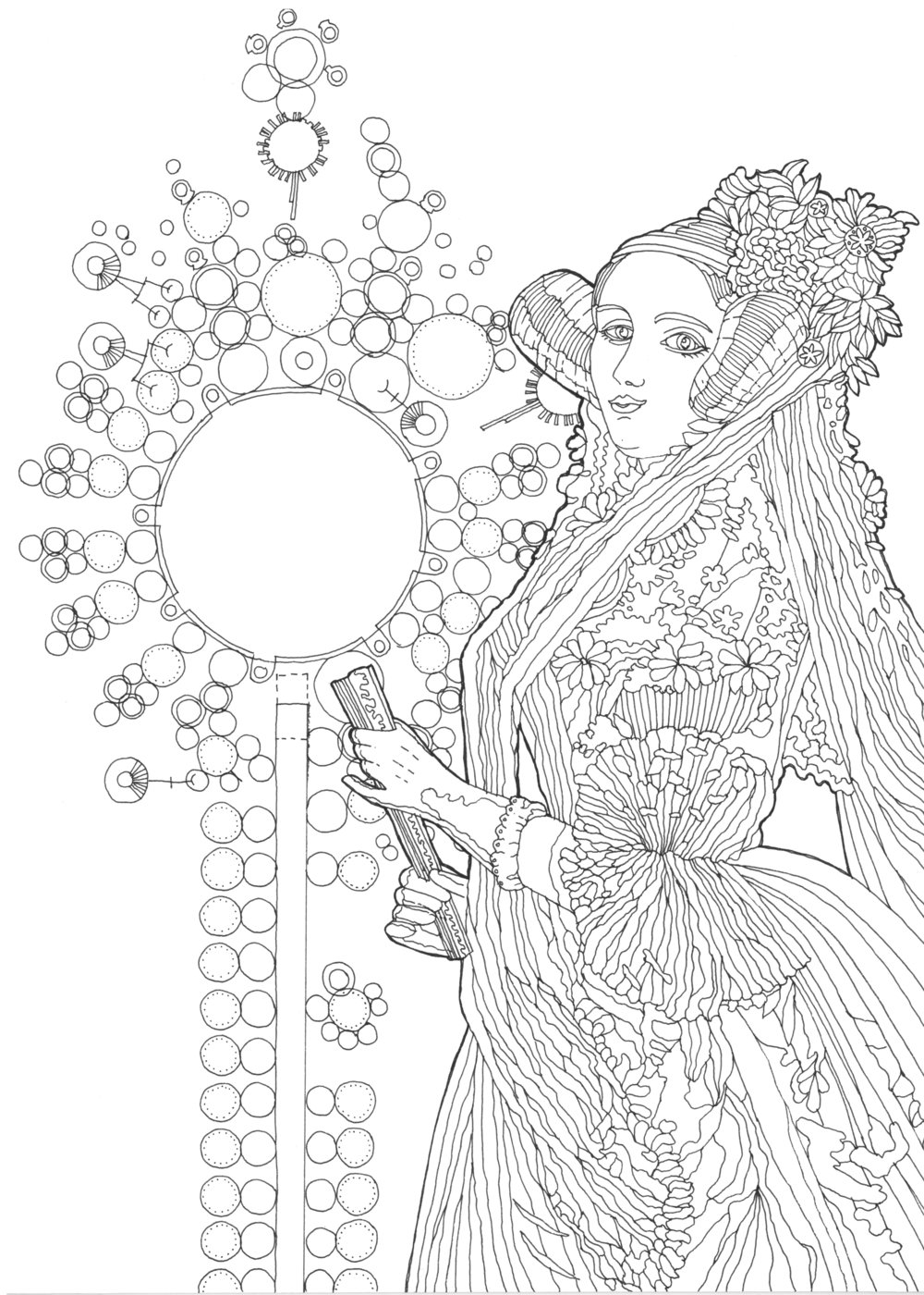 Hand-drawn    illustration    of Ada Lovelace by Jackie Aim, based on a watercolor portrait by Alfred Edward Chalon. Copyright license CC BY-SA 2.0.