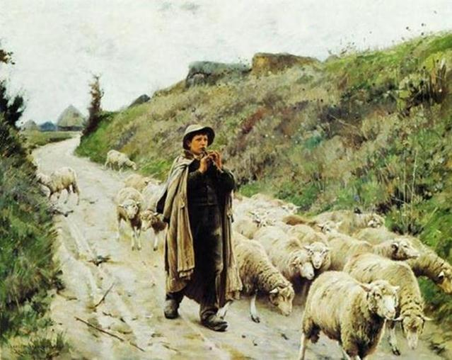 Shepherd by Francesco Paolo Michetti (19th century)
