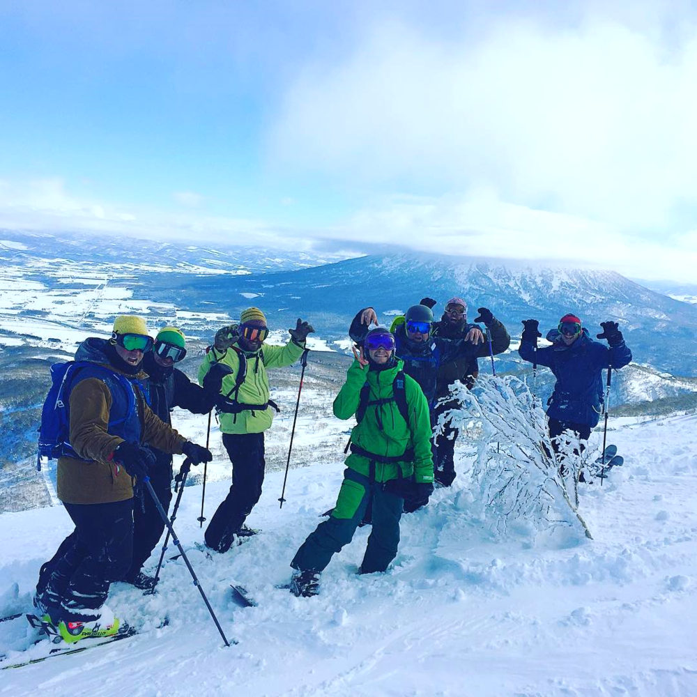 Niseko Backcountry tour with Guides-Mt Yotei in background.