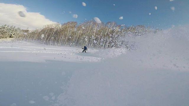 Another #powder turn on another run. #kamuiskilinks #delivering a real #hokkaidomountainexperience #ontour #powdertriangletour 📸 @ridewithpetetravel . . . . . . . #japow japow #vanlife #tourlife #guidelife #freeriding #gopro #hokkaido #snowboarding #backcountry #kbyg #snowsafety #privateguide #loveofpowder