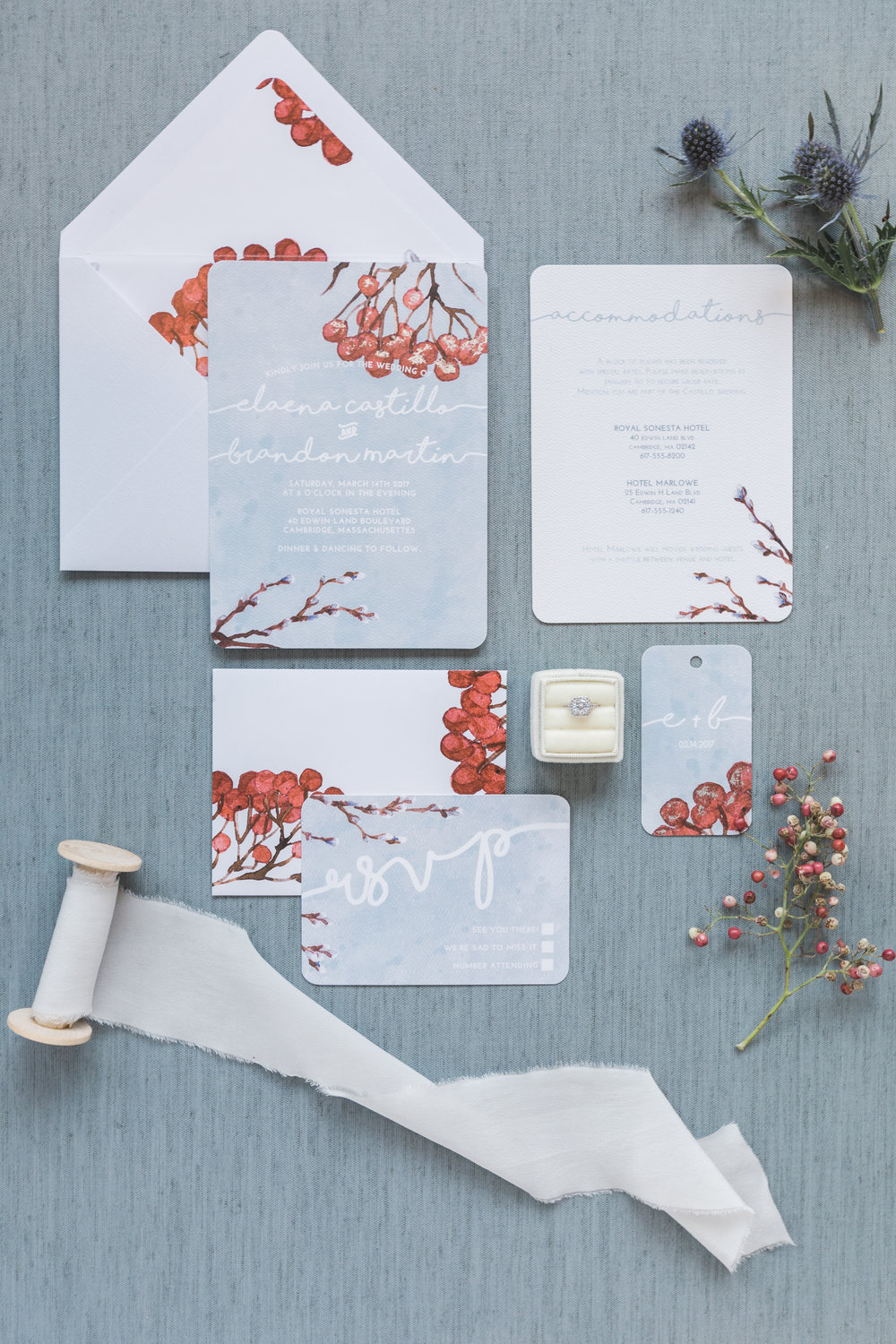 Winter Berry Wedding Suite | Hands of Hollis | Wedding Stationery Designer | Dallas, TX