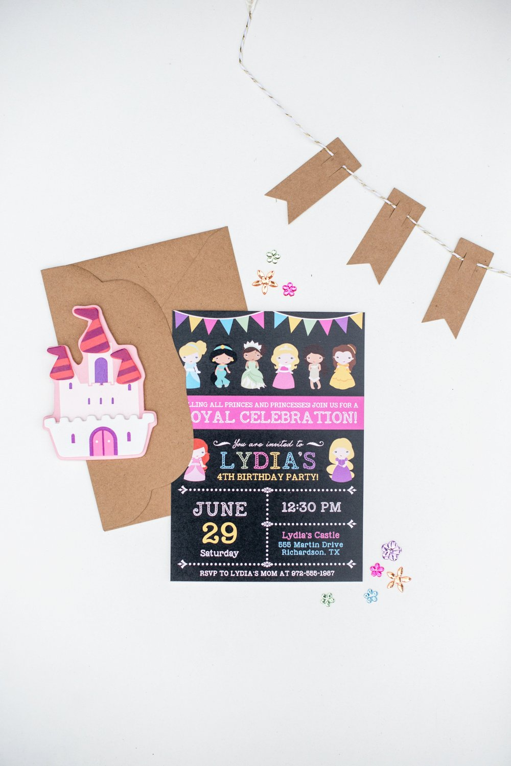 Hands of Hollis Girls Birthday Invitation Design Rainbow Princess Styled in Dallas Texas