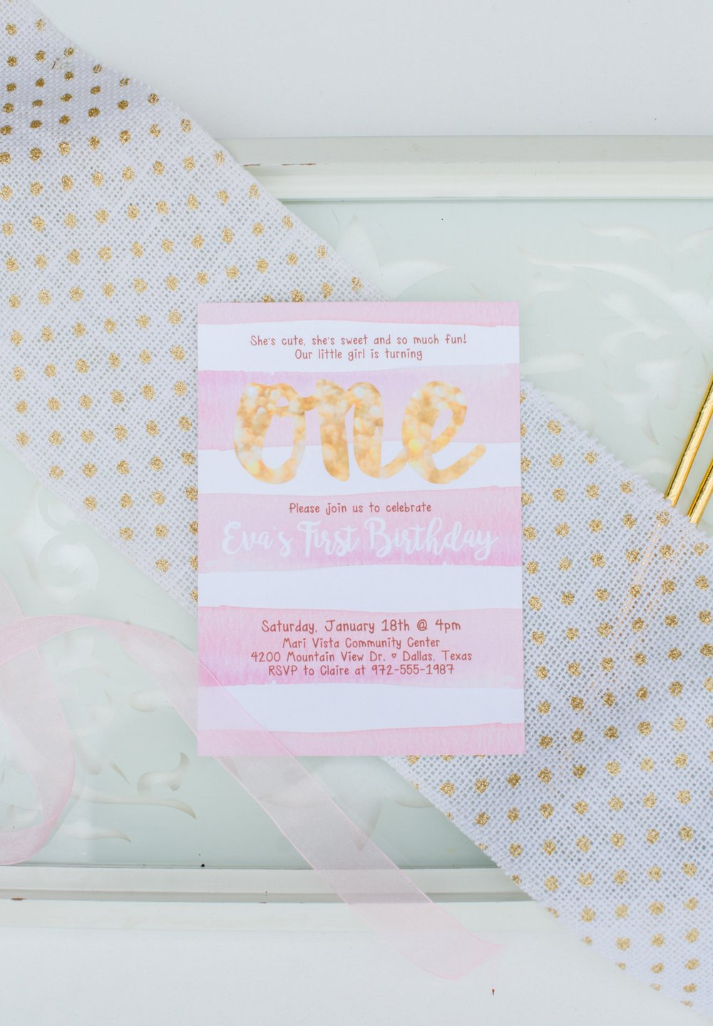 Hands of Hollis First Birthday Invitation Design Pink and Gold Styled in Dallas Texas