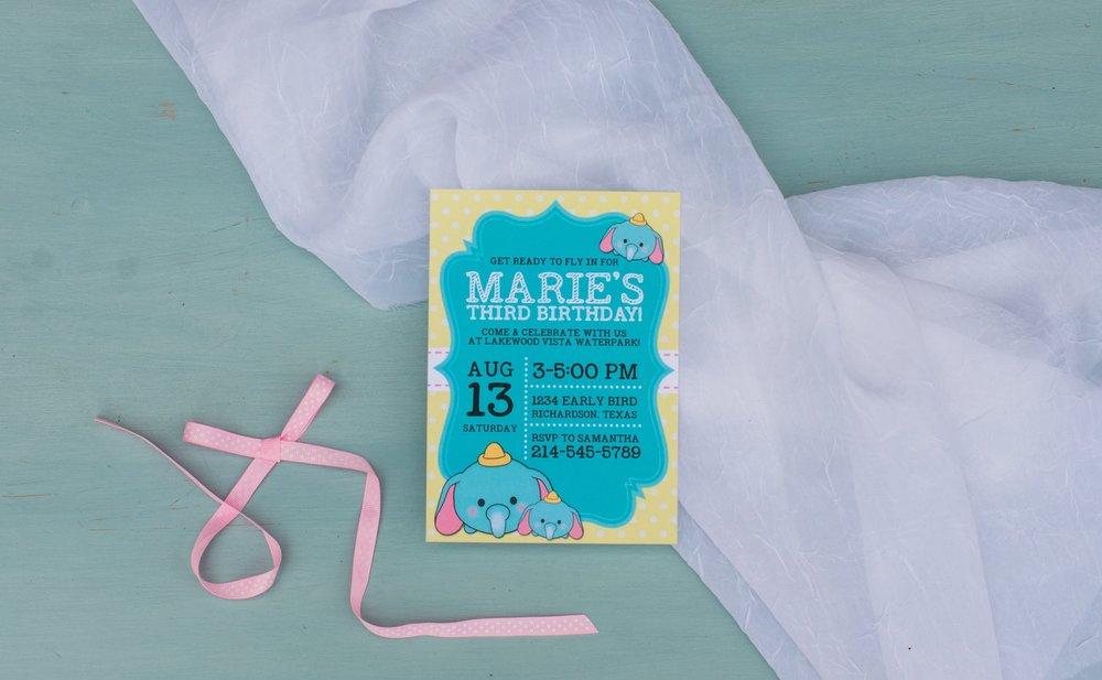 Hands of Hollis Girls Birthday Invitation Design Elephant Tsum Tsum Styled in Dallas Texas