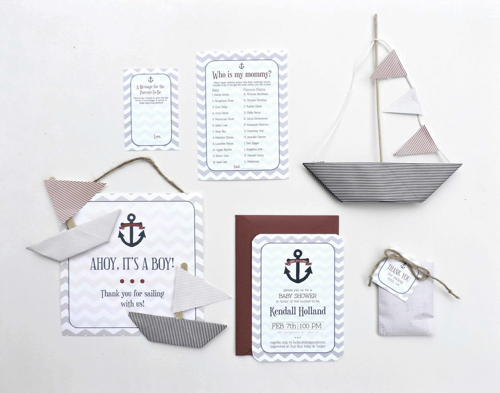 Hands of Hollis Baby Shower Invitation Design Nautical Theme Styled in Dallas Texas