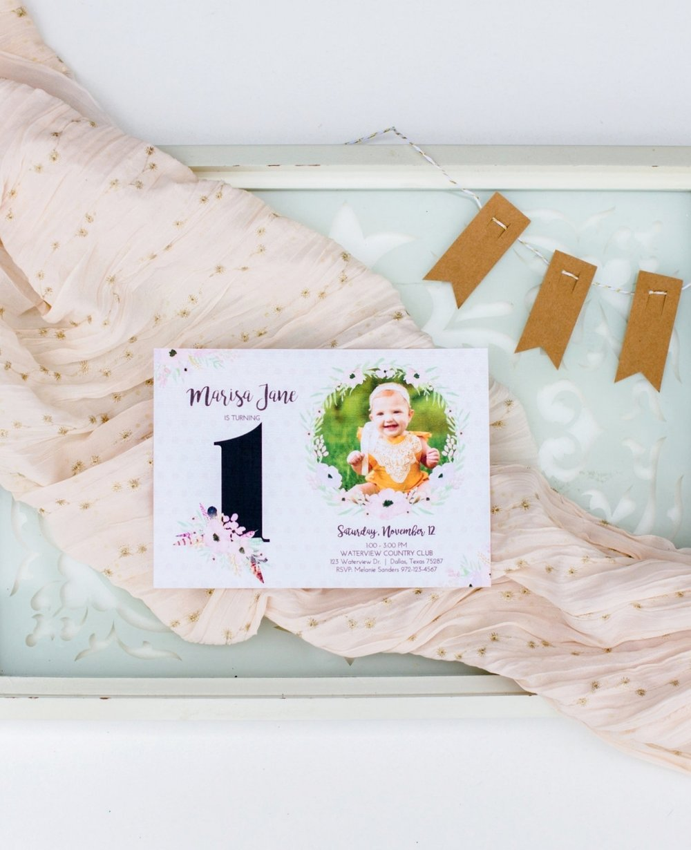 Hands of Hollis First Birthday Invitation Design Boho Baby Styled in Dallas Texas