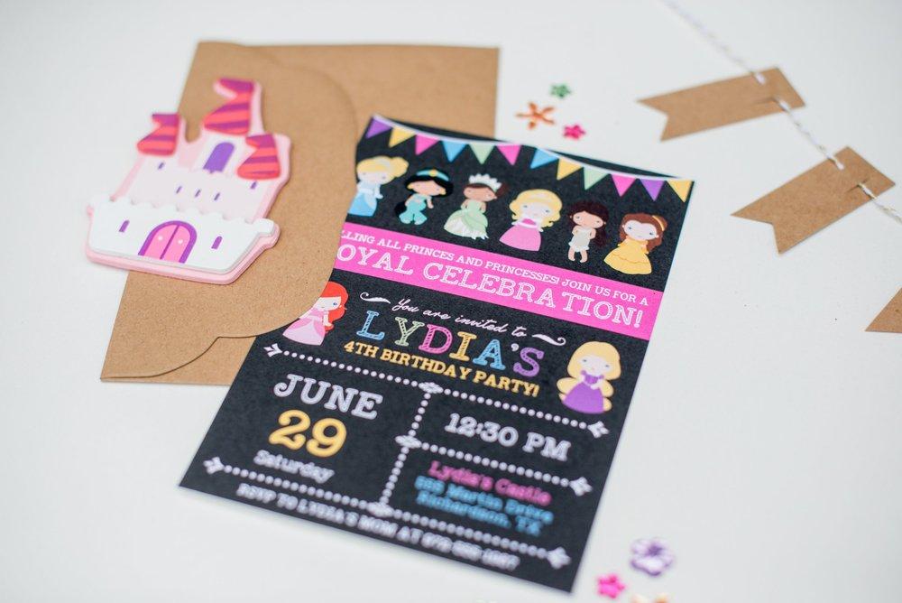 Hands of Hollis Girls Birthday Invitation Design Rainbow Princess Theme Styled in Dallas Texas