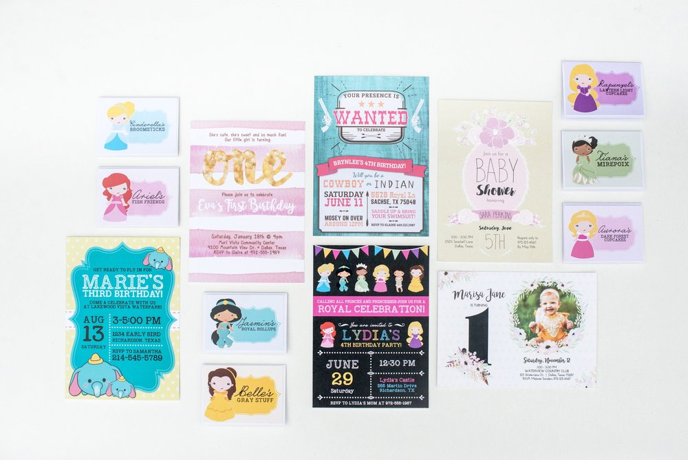 Hands of Hollis Girls Birthday and Baby Shower Invitation and Food Sign Design Rainbow Princess Western Pink and Gold Tsum Tsum Boho Baby Theme Styled in Dallas Texas