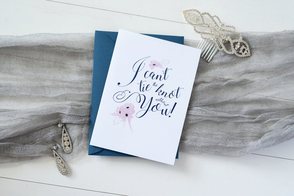 Hands of Hollis Fine Art Stationery Free Bridesmaid Card