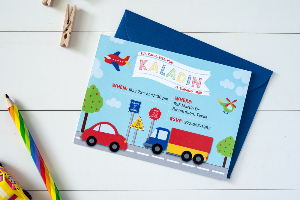 When photographing an invitation I made for my son, we used his cars and colored pencils! Photo by Lexie Faucher Photography