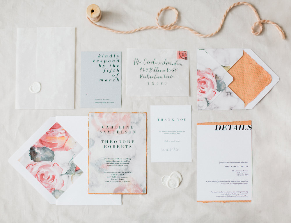 On this one, i thought it'd be neat to show you three different ways we styled this incredible handmade suite. In this first flat lay, we wanted to let the paper do all the talking so very few styling pieces were added. When doing this type of layout, keep your lines super duper straight! one crooked line will throw it all off! Photo by: Peaches with honey photography