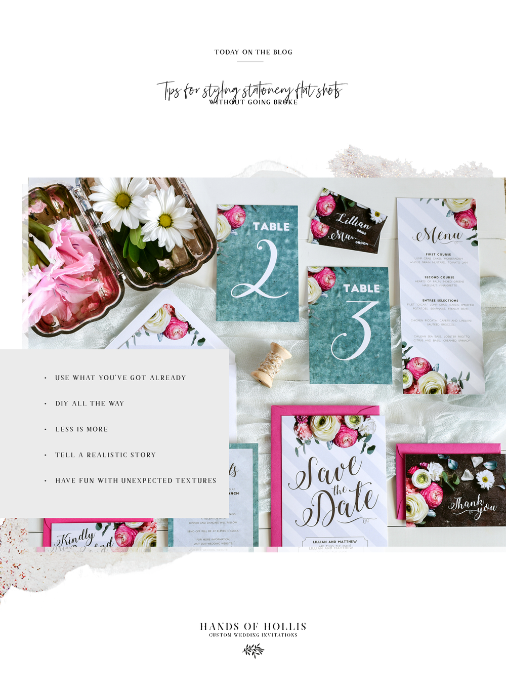 Hands of Hollis | Fine Art Stationery | Tips for Styling Stationery Flat Shots