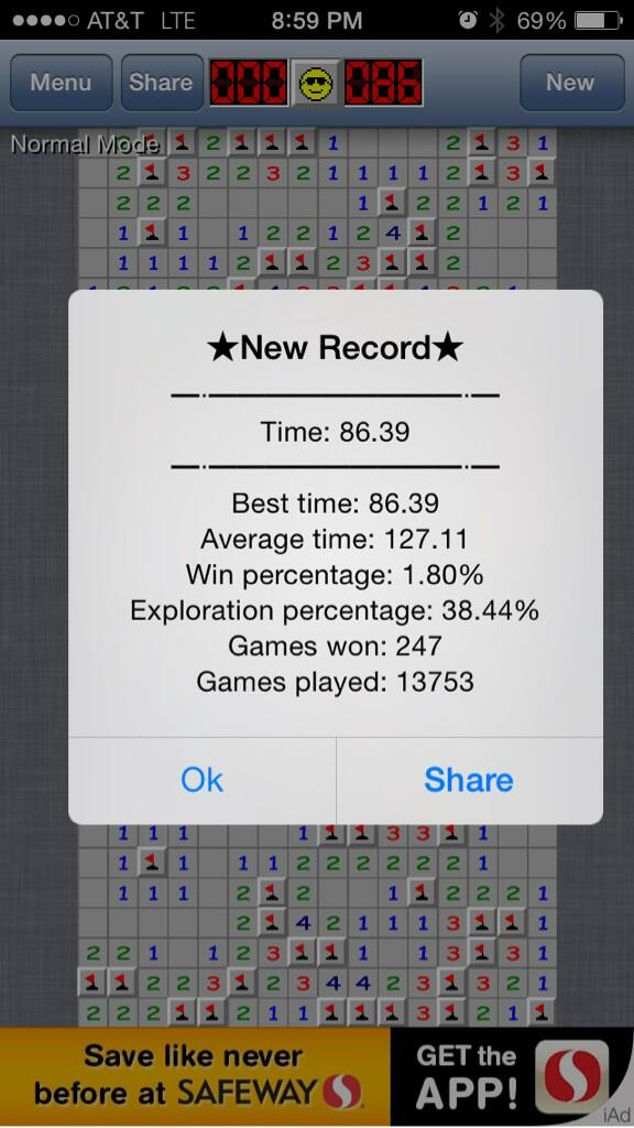 "Last night I beat my Minesweeper score by a full 11 seconds and finished the Expert level in 86 seconds and I'm feeling like a FUCKING SORCERER.    I don't care how fucking lame this is, this is the crowning achievement of my whole goddamn year.    Like, can I put this on my resume? Or my LinkedIn profile? Like, "" Skills: Minesweeper Sorcerer ""    I can die now."