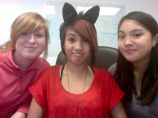 Saw these cat ears on my coworker's desk, so naturally, I decided they belong on my head.    Is it weird that I'm wearing cat ears at work today? Probably. Am I going to do it anyway? Abso-fucking-lutely.    Also, wearing red for Chinese New Year, yay! Where my dragons at?