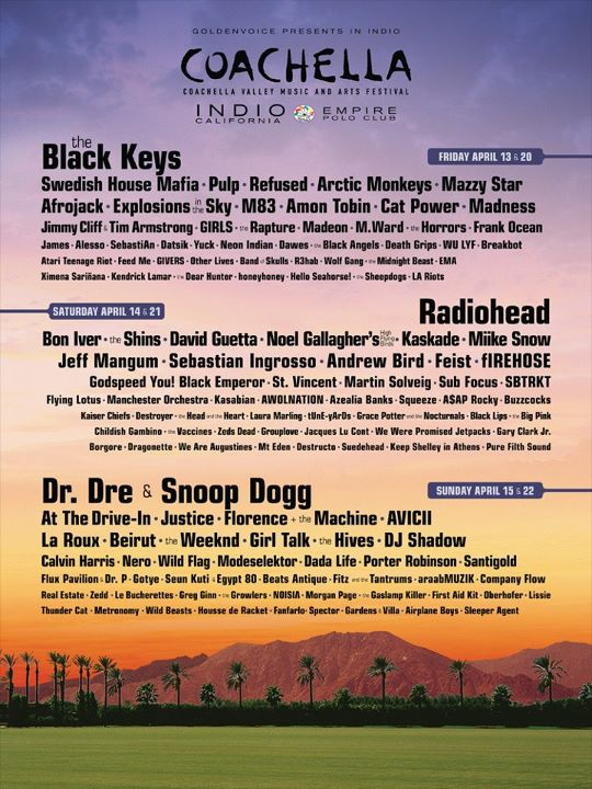 I'm sorry, but my workday officially ended after seeing this.    I'M SO FUCKING STOOOKED. Buying Coachella tickets in June? BEST DECISION EVER.